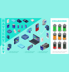 isometric chargers for modern devices set vector image