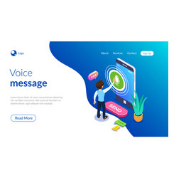 isometric record voice message concept a person vector image