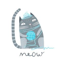 Kitten with wool yarn ball vector