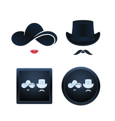lady and gentleman icon set isolated vector image