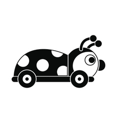 Ladybug toy on a wheels icon vector