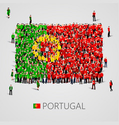 Large group of people in the portugal flag shape vector