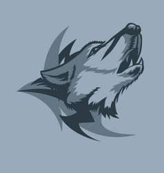 Lonely howling wolf and tribal sign behind tattoo vector