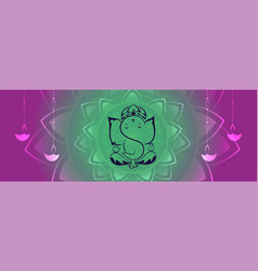 lord ganesha creative design banner with hanging vector image