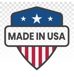Manufactured or made in usa stamp - flat icon vector