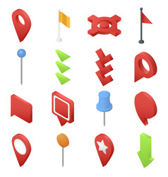 map pointer pin arrow icons set isometric style vector image
