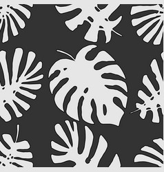 monochrome tropical jungle leaves seamless vector image