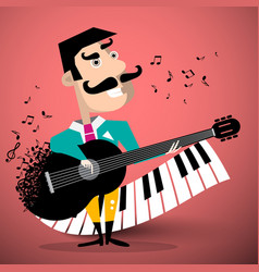 moustache man playing guitar with piano keyboard vector image