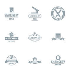 Paper business logo set simple style vector