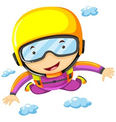 Person doing sky diving alone vector