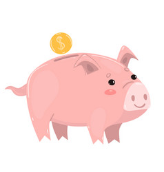 Pig piggy bank isolated on white background vector