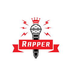 Rapper badge with crown on microphone vector