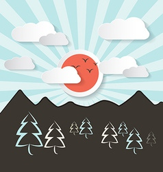 Retro Abstract Mountain Landscape with Paper vector image vector image
