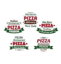 Set of italian pizza labels vector image