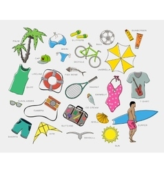 Set of playsuits clothes entertainment and travel vector