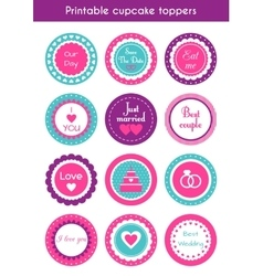 Set of printable cupcake wedding toppers vector