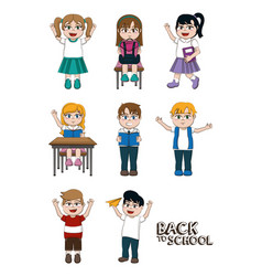 Set of students kids vector