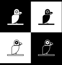 Set pirate parrot icon isolated on black and white vector