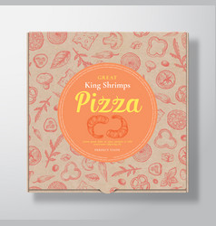 Shrimp seafood pizza realistic cardboard box vector