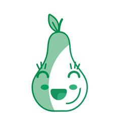 silhouette kawaii cute happy pear fruit vector image vector image