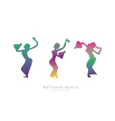 Silhouette of three girls dancing vector