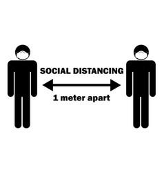 Social distancing 1 meter apart stick figure vector