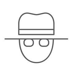 spy thin line icon private and detective agent vector image