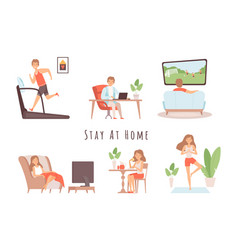 stay at home house relaxing man woman weekend vector image