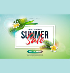 summer sale design with flower and exotic palm vector image