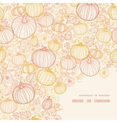 Thanksgiving line art pumkins frame corner pattern vector