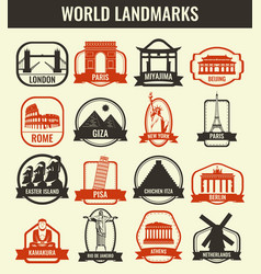 travel badges and labels world famous landmarks vector image