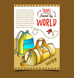 Travel world advertising poster with bags vector