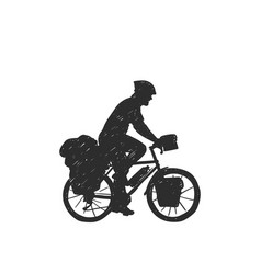 Traveling long distanse cyclist silhouette hand vector