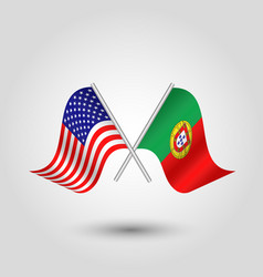 Two crossed american and portuguese flags vector