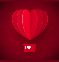 valentines day with paper cut red heart shape vector image