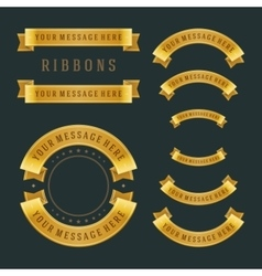 Vintage gold shiny ribbons retro style vector image