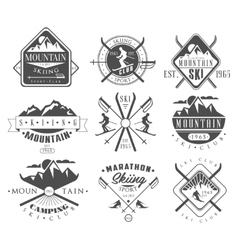 Vintage Skiing Labels and Design Elements Set vector image