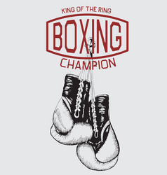 vintage sports logo with boxing gloves vector image