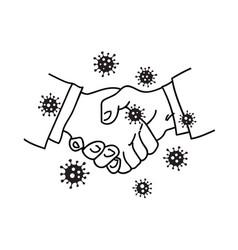 virus spreads through handshake hand drawn vector image