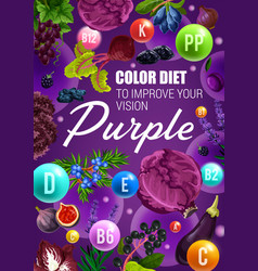 Vitamin berries and vegetables purple color diet vector