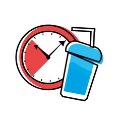 watch time with bottle beverage vector image