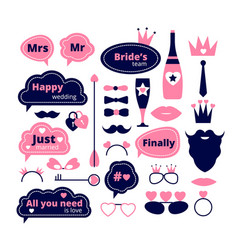 Wedding photo booth love party props fashion vector