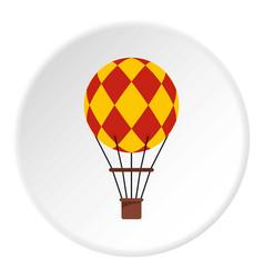 yellow retro hot air balloon icon circle vector image
