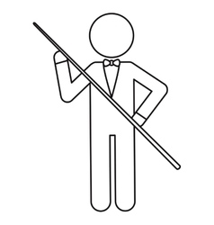 Character billiard player bow ouline vector