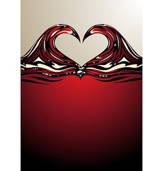 Heart shaped waves on red wine vector image vector image