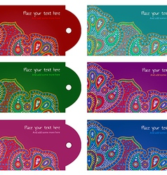 Paisley ornament message tags set vector image vector image
