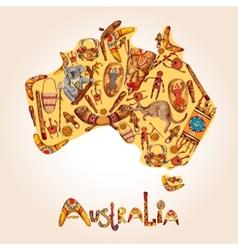 Australia sketch colored background vector image vector image