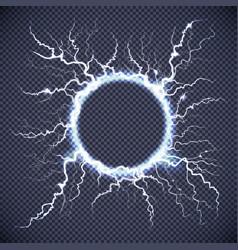 circle lightning realistic transparent background vector image