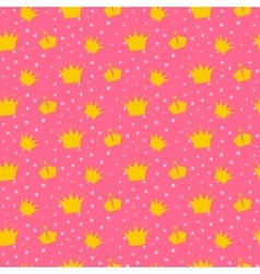 Girlish pink pattern with princess crowns vector image vector image