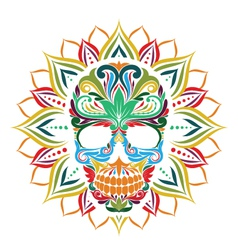 Skull and Sun Flower vector image vector image